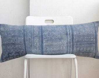 """Lumbar Batik Indigo Hmong Pillow Cover 14"""" x 36""""  LP06"""