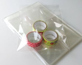 50 clear self adhesive cellophane bags - A6 - bags for greeting cards - packing bags