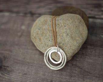Silver Hammered Hoops Pendant, Triple Hoops Handmade Pendant, Recycled Ecosilver, Minimal Jewellery, Simple Pendant
