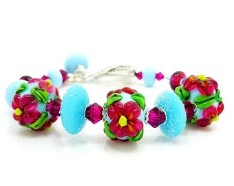 Pink Blue Floral Bracelet, Lampwork Bracelet, Glass Bracelet, Beaded Bracelet, Colorful Bracelet, Flower Bracelet, Glass Bead Bracelet
