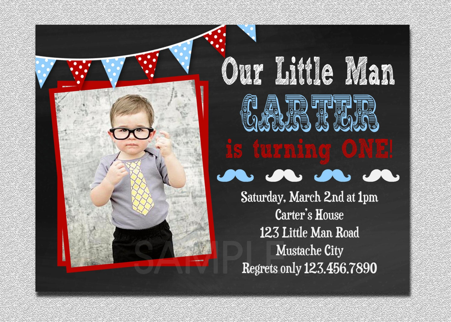 Little Man Invitation Little Man Birthday Invitation Little