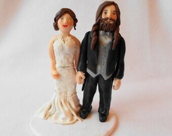 Custom Wedding Cake Topper, Polymer Clay Wedding Cake Topper, Custom Wedding Figurine.  A Hand Crafted Art Sculpture.