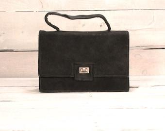 1960's Vintage Black Suede Handbag/Retro Black Suede Bag, Black Suede Purse/Vintage 60s Purse/1960s Handbag/christmas gift