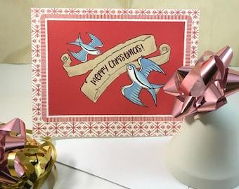 Retro Christmas Card, Mid Century Modern, Vintage Inspired Season's Greetings Card 'ROCKABILLY SWALLOWS' Tattoo Art Set of 10