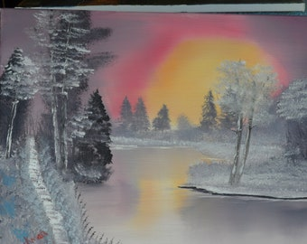 A landscape.. Icy Waters at sunrise.. #125 on 16x20 canvas..ready to frame.Bob Ross style