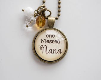 Nana Pride Necklace - Blessed Necklace Birthstone Jewelry One Blessed Nana Pendant Text Jewelry Custom Necklace Name Mothers Day Gift
