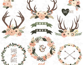"Wedding clip art""FLORAL ANTLERS WREATH""Clipart,Rustic Wedding,Wedding Wreath,Deer Horn.29 images 300 dpi.29Png files.Instant Download Wd128"