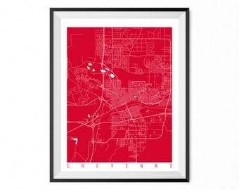 CHEYENNE Map Art Print / Wyoming Poster / Cheyenne Wall Art Decor / Choose Size and Color