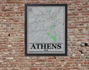 Athens Georgia Shaded Relief Wall Map