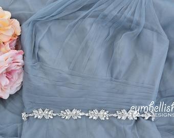 "Thin Rhinestone Belt-Bridal Belt - Bridesmaids Belt - Crystal Bridesmaid Belt - Wedding Sash - 1"" wedding belt - Bridal Sash - EYM B050"