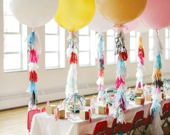 36 inch jumbo Balloon with custom tissue paper tassel tail,wedding balloon,jumbo party balloon,tassel balloon,wedding balloon,huge balloon