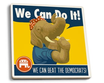 Rosie the Elephant Republican Political - LP Art (Set of 4 Ceramic Coasters)