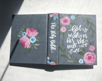 Custom quote Pink & Blue Floral ESV Journaling Bible