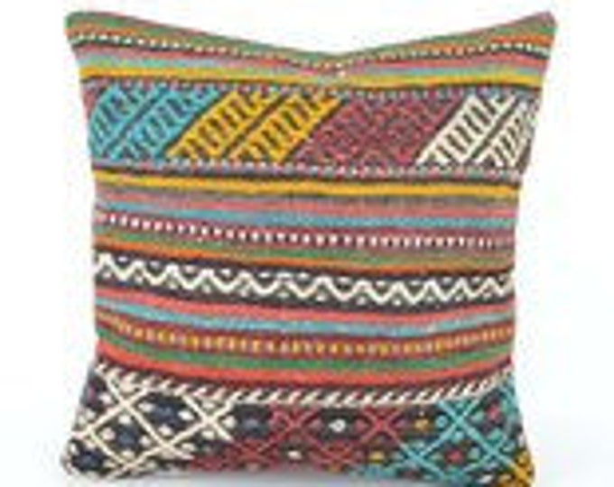Kilim pillow, Kilim Pillow Cover , Turkish Pillow, Kilim Cushions, Moroccan Pillow,  Bohemian Pillow, Turkish Kilim, KP33 (tp427)