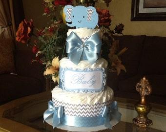 Elephant diaper cake/Baby boy Elephant diaper cake/Baby boy Elegant diaper cake/Elephant Baby shower centerpiece/Diaper cake/Gift