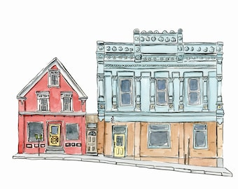"Nova Scotia Souvenir, Bathroom Print, Small Town, Lincoln Street, Lunenburg - Limited Edition Print of a Watercolour original -  5"" x 7"""