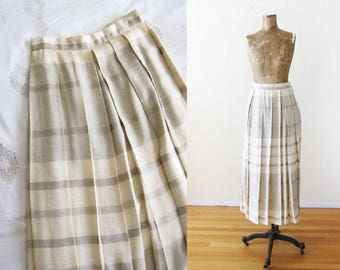 Pleated Midi Skirt - Striped Skirt - Linen Maxi Skirt - High Waisted Skirt - Neutral Cream Gray Long Skirt - 90s long pleated skirt XS