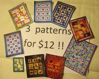 SALE - Quilt Patterns - 3 PATTERNS for 12 Dollars - your choice