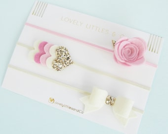 Beautiful pink 100% Wool felt and gold glitter Heart hair band  - perfect for all ages