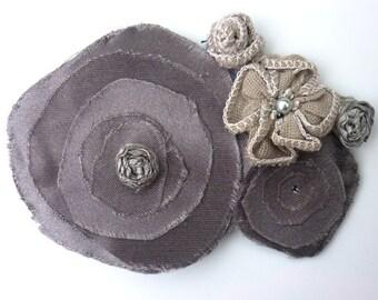 Grey Silver Flowers Hair Pin - Eco Friendly Wedding