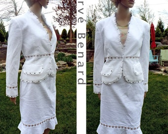 Vintage Insanely Adorable White Suit for Spring Summer Suit Designer Harve Benard Cotton Lacy Ultra Feminine 2 pc