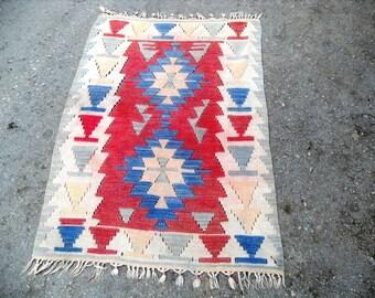 kilim rug free shipping VINTAGE TURKİSH kilim anatolian  handwoven kilim rug  decorative kilim - SİZE:30'' X 46'' (76 cm X 116 cm)