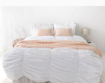 White Shirring Duvet Cover Soft Cotton Satin Bedding Luxury Duvet Cover Queen / King / Cal.King / Twin / Full / Adult Kid Teen Duvet Cover