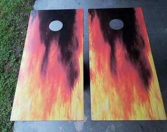 Fire Flame Complete Cornhole Set