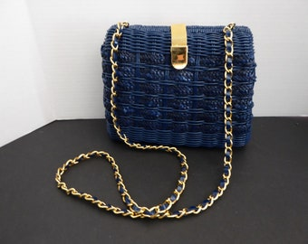 Vintage 1980s Benchmade Leatherworks Inc Wicker and Straw Handbag Navy Blue Circa 1980-1989