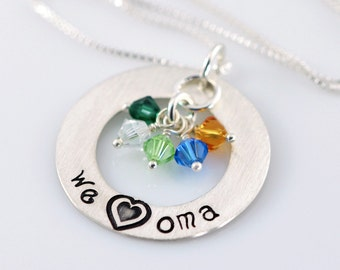 """We Love Oma Necklace - 1"""" Hand Stamped Sterling Silver Donut, Birthstone Crystals SJ174"""