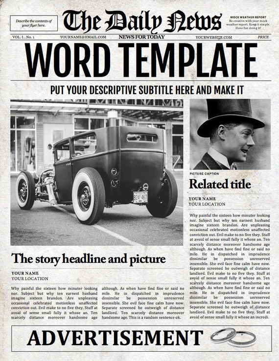 1 Page Newspaper Template Microsoft Word 8.5x11 inch