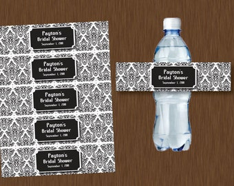 diy editable black and white damask water bottle labels printable personalizeable bridal shower