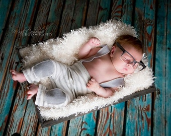 4ft x 4ft Photography Backdrop for Newborns - Rustic Blue Wood Plank Floor Drop for Photos-  Item 254