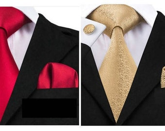 Solid Red Designer Tie, Pocket Square & Cuff-links - Made by Ties4Guys