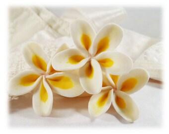 Plumeria Hair Pins - Frangipani Hair Flowers, Tropical Flower Hair Pins, Plumeria Flowers for Hair