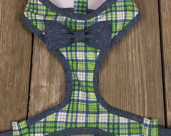 Blue and Green Plaid Comfort Harnesses w/ Blue Chambray Bowtie