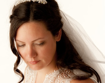 Bridal Haircomb Wedding Hair Accessories Swarovski Crystals Pearls Handmade Fascinator Headpiece Headnabd