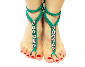 Green crochet barefoot sandal anklets, foot jewelry, Yoga, Eclectic, Stylish Anklet, Barefoot Sandals, Gypsy accessory, Beach Sandals