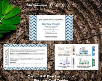 Rodan and Fields Business Cards / Blue / Herringbone / Combo / Products / Regimen / Mini Facials / Instructions / Digital / DIY / Printable