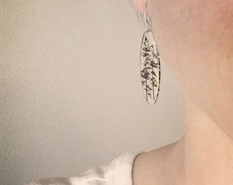 Tall Oval Forest Earrings