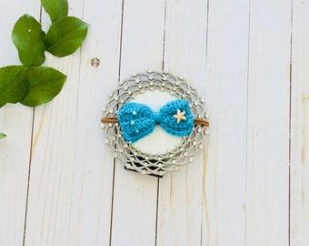 Crochet Mermaid Headband, Crochet Bow Headband, Mermaid Headband, Mermaid Bow Headband, Mermaid Photo Prop, Mermaid Birthday, Big Bow Pearls