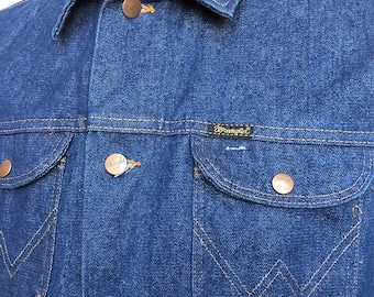 1970s Vintage Wrangler Raw Unwashed 14 oz Denim Jacket 42 Made in USA