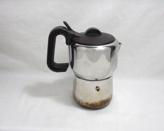 Lagostina Moka Pot 6 Cup 1.5 oz Size Shot Espresso Stovetop Coffee Maker Pot Stainless Steel Italy