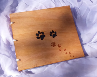 Photo Album Pawprint Design /Custom Wood Photo Album /Wood Cover Album /Wood Gift Album /Petlover's Photo Album /Love My Pet Photo Album