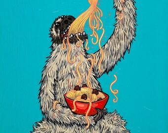 Sloth Eating Spaghetti 8x10 Giclee Print