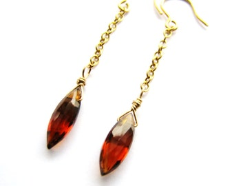 SALE, Hessonite Garnet Earrings, Rare AAA Graded Natural Red Marquise Cut Gemstone Earrings, Gold Vermeil Drop Earrings, Minimalist Jewelry