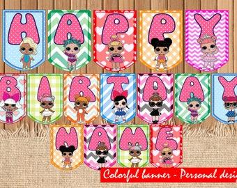 Digital LOL dolls PERSONAL DESIGN| Lol surprise printable Banner| Lol dolls Banner Instant download| Lol dolls decoration