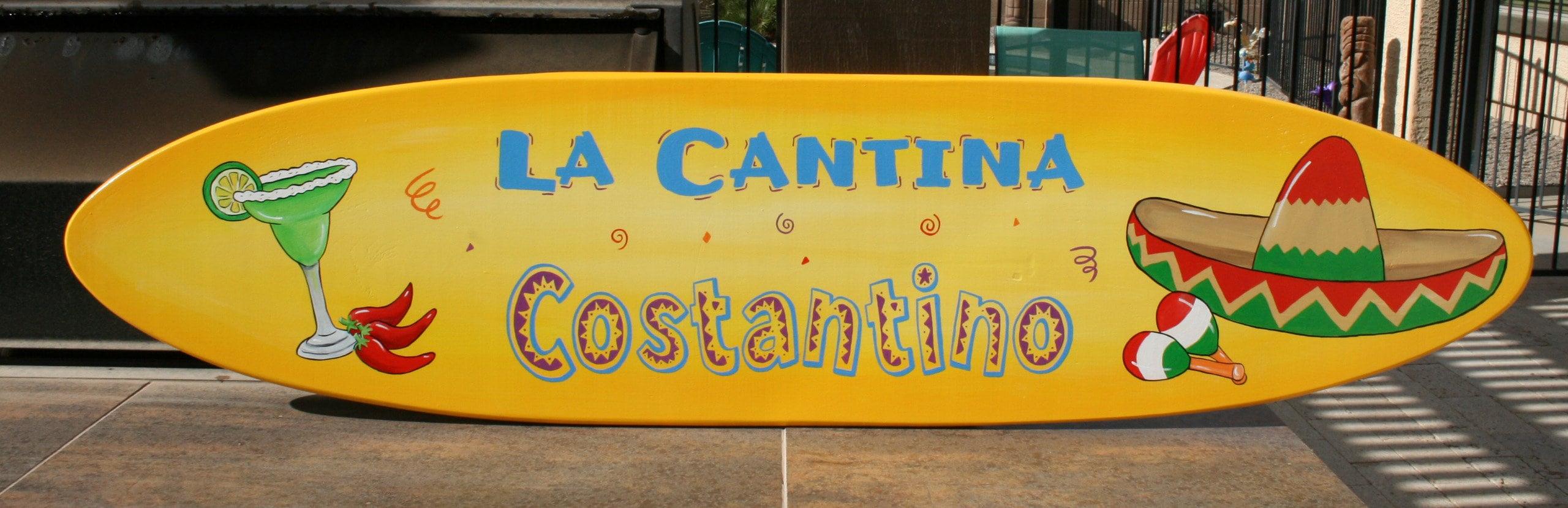 surfboard wall art cantina sign mexico theme mexican bar