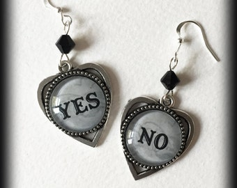 Ouija Earrings, Yes No Earrings, Ouija Planchette, Occult Jewelry, Ouija Board Jewelry, Occult Earrings, Wiccan Jewelry, Occult Gift