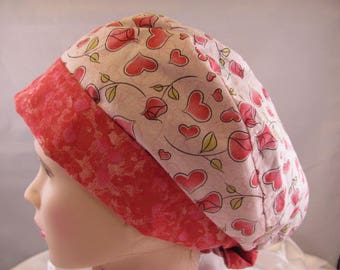 Women's Pixie Scrub Hat Hearts and Roses With Pink